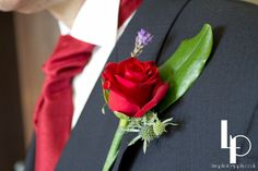 Wedding buttonholes, red rose, lavender