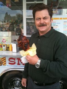 The Swanson- ah Parks and Rec! Rob would so eat this- turkey leg with bacon wrapped around it