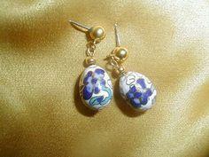 Vintage 10K Gold Cobalt Blue Purple Iris Floral Cloisonne Easter Egg Earrings