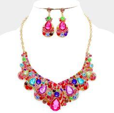 Multi Color Crystal Necklace set
