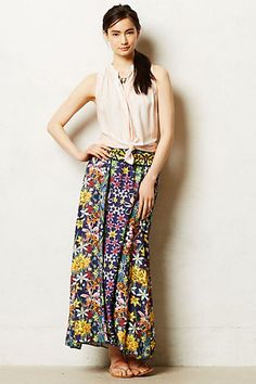 with different blouse tucked in. Parana Maxi Skirt  #anthropologie