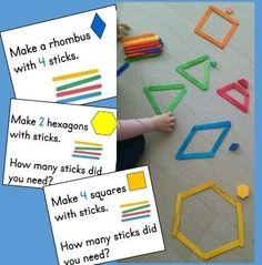 Kindergarten Geometry Math Center: Making Shapes from Sticks