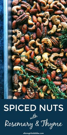 Rosemary Thyme Spiced Nuts from afarmgirlsdabbles. - This spiced nuts recipe is so easy to make! Lightly spiced and beautifully fragrant with the earthiness of herbs the nuts are great for nibbling and gifting. Nut Recipes, Vegetarian Recipes, Cooking Recipes, Healthy Recipes, Easy Recipes, Vegetarian Cooking, Vegetarian Appetizers, Cooking Hacks, Italian Cooking