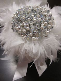 DIY Crystal+Pearl bouquet Feather Ribbon Base :  wedding diy flowers IMG 7648