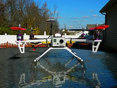 The quadcopter used a Flame 450 frame and a Naza flight controller. These are entry level aerial platforms and dont cost much for a bare bones model.