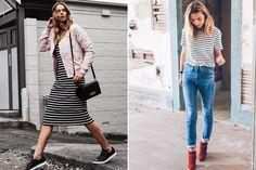 Looks para outono com vestido listrado mid, tenis preto e jaqueta rosa