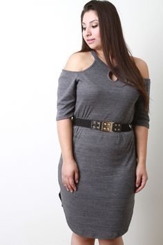 Cold Shoulder Belted Ribbed Dress