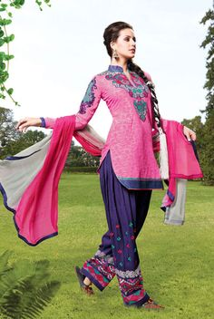 USD 50.64 Pink Cotton Embroidered Patiala Suit  40326