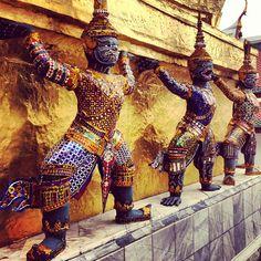 Fierce at the Emerald Buddha temple in Bangkok, Thailand