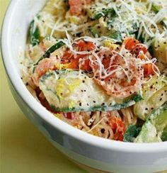"Recipe For Pasta with Zucchini Tomatoes and Creamy Lemon Yogurt Sauce - Adapted from Jillian Michaels' ""The Master Your Metabolism Cookbook"""