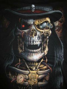 Steampunk skull in top hat
