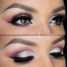 Sliver and Purple Eye Shadow