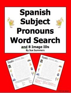 Spanish Subject Pronouns Word Search and Image IDs by Sue Summers