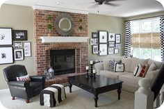 love the white mantle against the red brick
