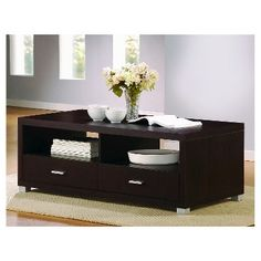 Derwent Coffee Table with Drawers - Baxton Studio, Brown