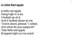 If you are teaching an Apple theme, here are a collection of 6 cute apple songs and rhymes to compliment your preschool theme. ( Original authors of these songs unknown. If you are the author, please contact me so I can credit you ) Apple Song, Apple Theme, Red Apple, Looking Up, Compliments, Poems, Preschool, Author, Bear