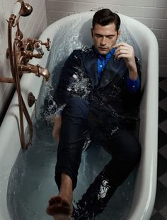 Sean O'Pry poses in a bathtub for his Mojeh magazine shoot.