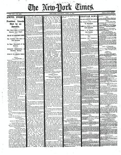 NYTimes, Saturday, April 15, 1865 / President Lincoln Shot by an Assassin.