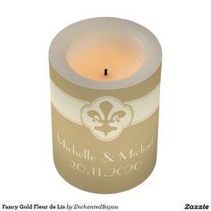 Fancy Gold Fleur de Lis Flameless Candle