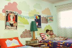 Fabric Decals with Art Clothesline