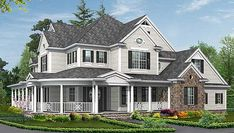 Elevation #2 Plan No: W23203JD Style: Northwest, Farmhouse, Craftsman, Country Total Living Area: 4,725 sq. ft. Main Flr.: 2,335 sq. ft. 2nd Flr: 2,390 sq. ft. Porch, Combined: 990 sq. ft. Attached Garage: 4 Car, 1,090 sq. ft. Bed: 4 Bath: 4.5