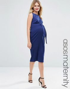 ASOS+Maternity+Knot+Side+Midi+Bodycon+Dress