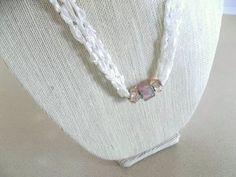 White Necklace Crochet Ladder Lace Necklace Trellis Ribbon Lace Fiber Yarn Pink Glass Beads by DelsYarnBasket on Etsy