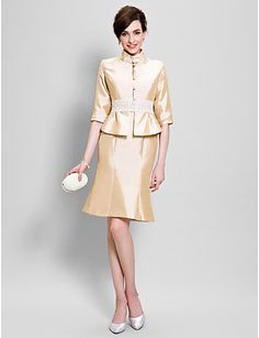 Lanting Bride® Футляр Платье для матери невесты До колена Рукав до локтя Тафта - Кружева 4716154 2016 – p.7 188,28