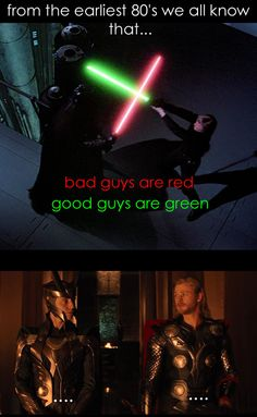 """somewhere between """"Tor"""" and """"StarWars""""<<Or good guys are blue. Green is more ambiguous. Disney villains tend to have greenish glows, and Disney kinda owns the Marvel movies...<— Disney kinda owns Star Wars now too..."""
