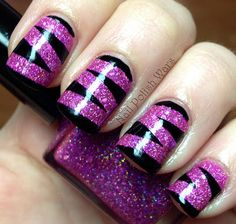 purple glitter and black zigzag nail art