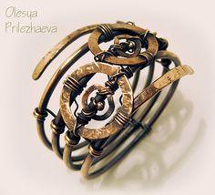 Tribal Copper bracelet  Sarmat handmade wire wrapped by priola, $65.00