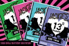Sk8r Grrlz Roller Derby Skate birthday party invitation by SimplySoirees on Etsy, $6.00