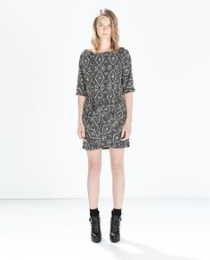 ZARA - WOMAN - PRINTED DRESS WITH GATHERED HIP