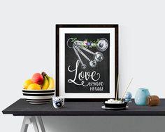 Love Beyound The Measure Print, Chalkboard Prinnt, Kitchen Art, Quote Art, Chalk Printable, Measuring Spoon Wall Art, Kitchen Decor WP555 by dreamONprints on Etsy