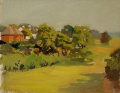 """Red House,"" Fairfield Porter, 1957, oil on canvas, 30 1/4 x 38 1/4"", Parrish Art Museum."