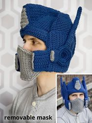 Crochet Pattern For Optimus Prime Hat : Just Plain Awesome Hats on Pinterest Monster Hat, Hats ...