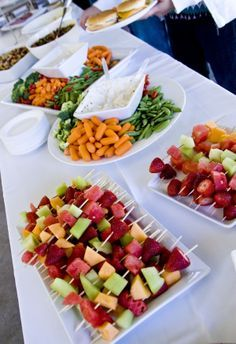 veggie trays like this and fruit kabobs for the wedding, with bambinos and salad! All on tree tiers like the pies