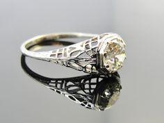 Art Nouveau Spider Web Filigree Engagement or Dinner Ring, 18k White Gold, .81ct Fine Diamond RGDIA756D. $2,245.00, via Etsy.