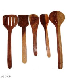 Racks & Holders Wooden Spoons Material: Wood Size(L X B X H ) : 17 cm X 8 cm X 4 cm Description: It Has 5 Piece Of Exclusive Brown Wooden Skimmer Spoons Country of Origin: India Sizes Available: Free Size   Catalog Rating: ★3.9 (5093)  Catalog Name: Trendy Delight Home & Kitchen Utilities Vol 7 CatalogID_96363 C130-SC1640 Code: 841-834820-612