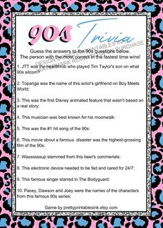 Virtual Girls Night Game, Girls Night in Game, 90s Trivia Game | by Pretty Printables Ink on Etsy. Looking for a fun girls night game, bachelorette game or bridal shower game? Take a trip down memory lane with our instant download 90s trivia game! Play virtually or in person! #virtualgamesnight #virtualgirlsnight #virtualgame #90strivia #90squiz #90sgame #momsnightin #girlsnightideas #bachelorettegame #bridalshowergame