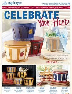 Celebrate Your Heroes! Every day, our everyday heroes make a difference in our lives. Show them how much you appreciate them! Choices include teacher, police officer, firefighter and nurse, as well as all our military branches.  A special new Patriot Basket also is available to honor our freedom and liberty!