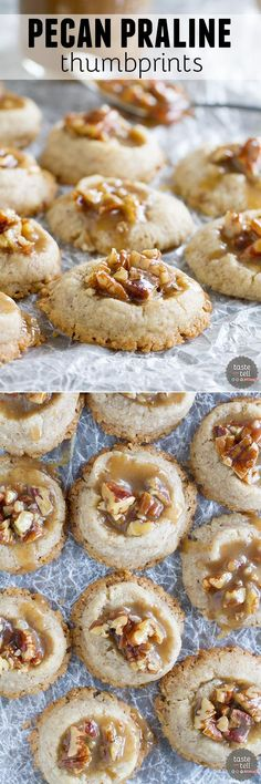 """<p style=""""text-align: center;""""><em>Salty and sweet, these Pecan Praline Thumbprints are pecan infused cookies topped with a sweet and salty pecan praline topping. Also a review of Cookie Love by Mindy Segal."""