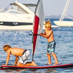 The coolest thing is sharing your stoke with friends. These guys know how to rule at sea   #KidsatSea #Kidsfirstwindsurf #WhipperFriends #SurfGroms #BeachKids #KidshavingFun #Windsurfing Beach Kids, Windsurfing, Friends Family, Swim Trunks, Swimsuit