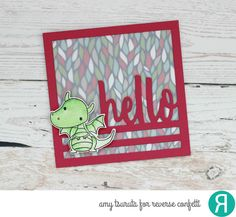 Card by Amy Tsuruta. Reverse Confetti stamp set: Magical Day. Confetti Cuts: Magical Day and Hello Square. RC 6x6 paper pad: Under the Umbrella. Friendship card. Birthday card. Dragon.