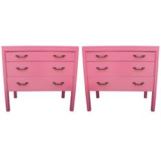 Lovely Pair of Bachelor's Chests Lacquered in Pink | From a unique collection of antique and modern commodes and chests of drawers at https://www.1stdibs.com/furniture/storage-case-pieces/commodes-chests-of-drawers/