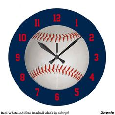 Red, White and Blue Baseball Clock