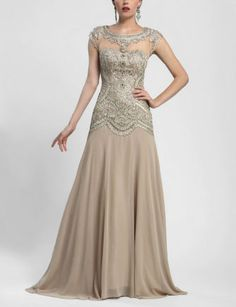 Sue Wong Embroidered Cap Sleeve Gown