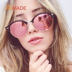 38e008c4ab Aimade New 2016 Brand Designer Half Frame Club Round Sunglasses Fashion Vintage  Women Men Mirror Sun Glasses Female Oculos UV400