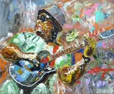 """Bluesman"" Fine Art Print, Abstract Expressionist, Great Gift for Music Lover. The passion of the musician in the midst of performance is one of my favorite themes. .Explore the world of ""psychological dimension and color"" with a John Barney fine art print. While many of his paintings have a story behind them, most will encourage the viewer's unique experience based upon their individual personality traits, life experience, and personal taste. Each standard-sized 8x10 print (1 inch white..."