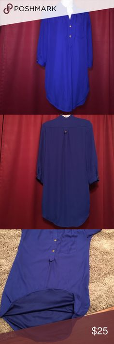 XTaren Blue dress Double layered, Beautiful blue with gold buttons, Extra long to wear as a dress or as a top with leggings. Tabbed sleeve 100% polyester, size small Xtaren Dresses